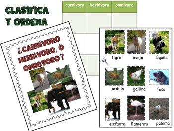 Carnivore herbivore omnivore Spanish sort / herbivoro, carnivoro, omnivoro