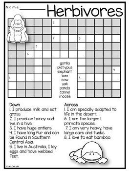 Herbivores Animal Puzzles Word Search Crossword