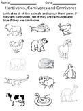 Herbivores, Carnivores and Omnivores