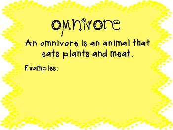 Herbivores, Carnivores, and Omnivores...Oh my!