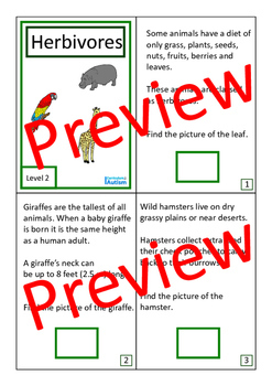 Herbivores Interactive Adapted Biology Books 2 levels, Autism Special Education