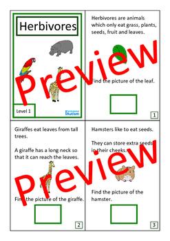 Herbivores Biology Books Autism Special Education (2 levels)