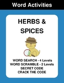 Herbs & Spices - Word Search, Word Scramble,  Secret Code,