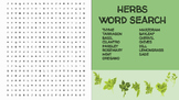 Herbs Word Search; FACS, Culinary Arts, Bellringer, Cooking Lesson