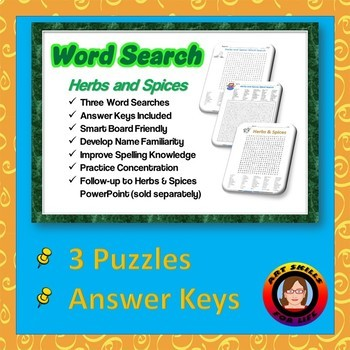 Herbs and Spices Word Search