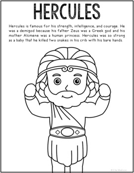 Hercules, Greek Mythology Informational Text Coloring Page Craft or Poster