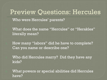 Hercules Myth and Activities