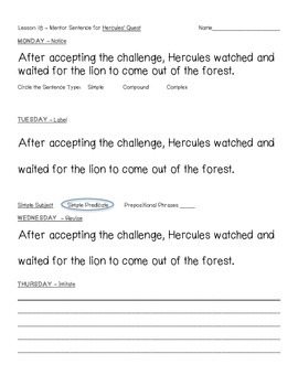 Hercules' Quest, 4th Grade Journeys Common Core, Mentor Sentence