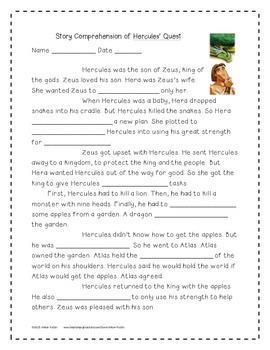 Hercules' Quest Supplemental Activities 4th Grade Journeys Unit 4, Lesson 18