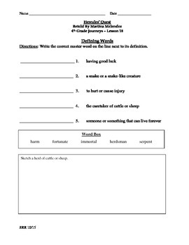 JourneysCommon Core 4th - Hercules' Quest Supplemental Packet for the SLP