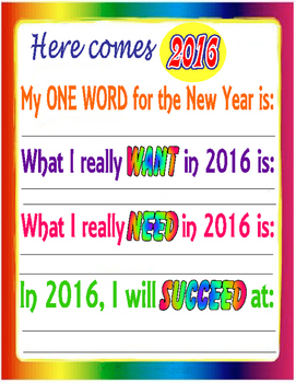 Here Comes 2016! A New Year's Writing page!