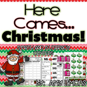 Here Comes Christmas!!! {5 Math and 5 Literacy Centers}