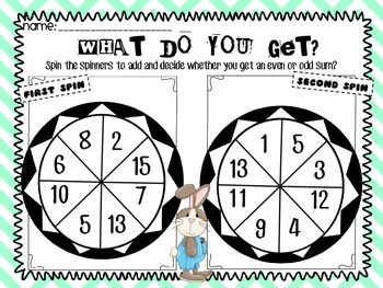 Here Comes Peter Cottontail What Do You Get and To Regroup Or Not Math Spinners