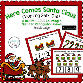 Here Comes Santa Claus BOOM CARDS Numbers to 10
