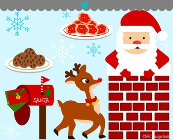 Santa chimney reindeer clipart commercial use