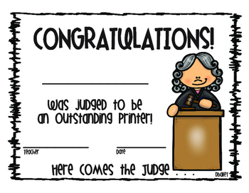Here Comes the Judge - Handwriting Incentive