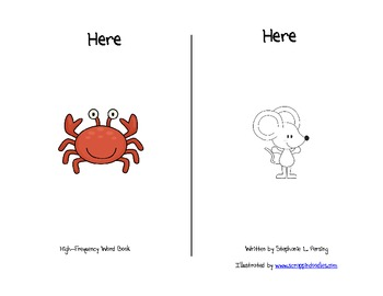 """""""Here"""" High Frequency Word Book and Writing Prompt"""