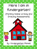 Here I am in Kindergarten! - Monthly Name Writing and Draw