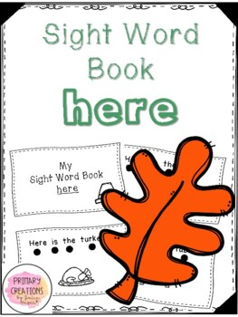 Here - Thanksgiving Activity Sight Word Book