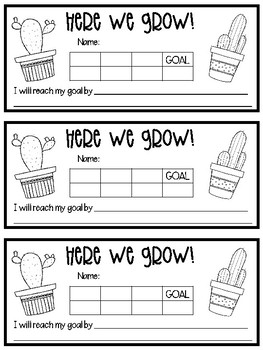 Here We Grow! Growth Party Goal Sheets