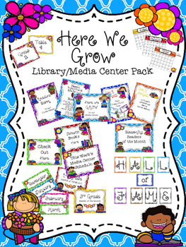 Here We Grow Library Media Center Pack {with EDITABLE passes and signs}