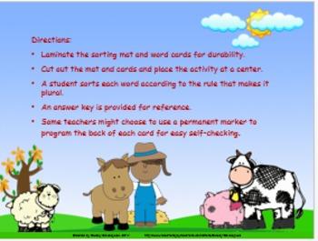 Noun Plurals, Sorting Mat Activity for Nouns Ending in -f!