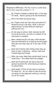 Here's Hank: Bookmarks Are People Too! (Winkler) Novel Study / Comprehension
