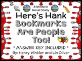 Here's Hank: Bookmarks Are People Too! (Henry Winkler) Novel Study  (24 pages)