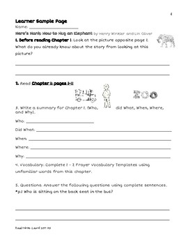 Here's Hank: How to Hug an Elephant Novel Unit