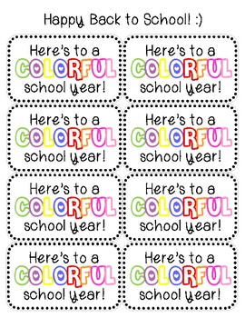 Here's to a COLORFUL school year Gift Tag