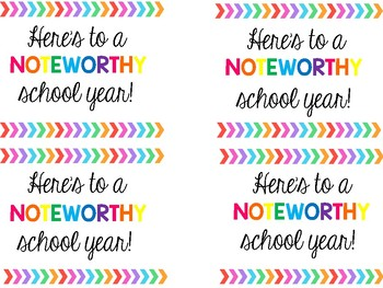 Here's to a NOTEWORTHY school year gift tag