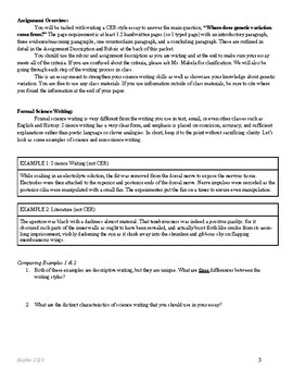 Heredity CER Essay Project HS-LS3-2