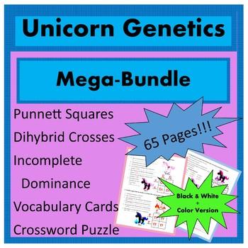 Heredity Genetics Punnett Square Bundle / Mendelian Genetics Activity BW + Color
