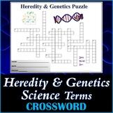 Heredity & Genetics Science Crossword Puzzle Activity Worksheet