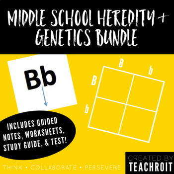 Heredity & Genetics Bundle: Notes, Practice, Study Guide & Test (Middle School)