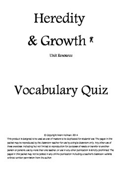 Heredity & Growth Vocabulary Quiz
