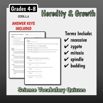 Science Vocabulary Assessments - Heredity & Growth