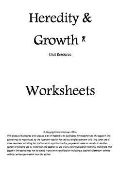 Heredity & Growth Worksheets