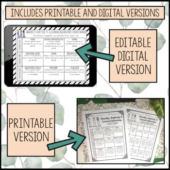 Heredity, Instincts, & Learned Behaviors Choice Board