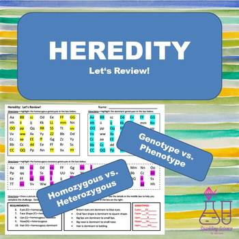 Heredity Review Worksheet by Sparkling Science | TpT