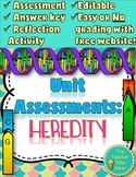 Heredity Unit Editable Assessments and Reflection Activity