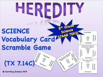 Heredity: Vocabulary Scramble card Game (7.14C)