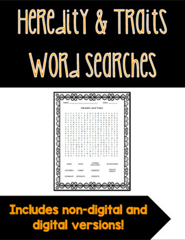 Heredity and Traits Word Search FREEBIE