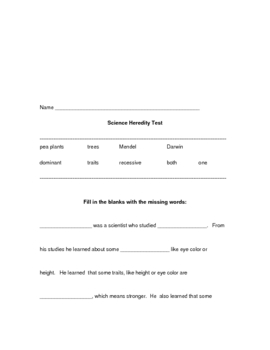Heredity study guide and test