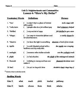 """""""Here's My Dollar"""" Vocabulary List and Test for Treasures"""
