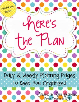 Daily & Weekly Planning Pages - Editable, Colorful Dots