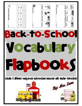 Back-to-School Vocabulary Flapbooks