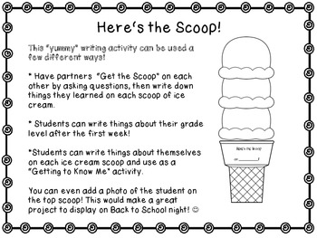 Here's the Scoop! A Back to School Freebie!