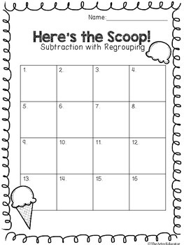 Here's the Scoop! Subtraction with Regrouping Task Cards