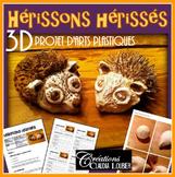Hérissons hérissé en 3D, pâte de sel trois dimensions, arts plastiques
